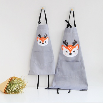 Cute Animal fox Print Aprons with Pocket for Mommy and Me