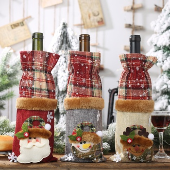Christmas Wine Bottle Cover Party Ornament Decor Lattice Bottle Home Party Dinner New Year Gift