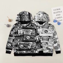 Trendy Comic Allover Print Hooded Sweatshirt
