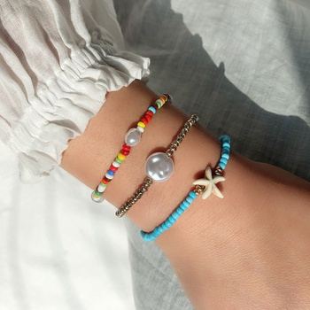 3-pcs Bohemian Colorful soft bracelet Beach female stretch rope Gift