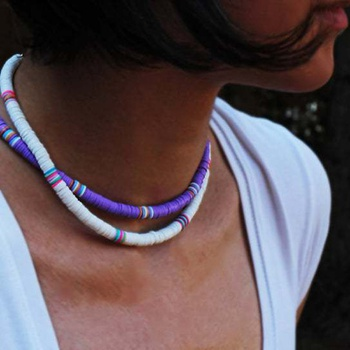 Bohemian Necklace Handmade Round Mixed Color Soft Ceram Necklace Gift