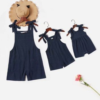 Mommy and Me 100% Cotton  Front Pockets Solid Sling Rompers