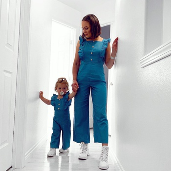 Mommy and Me Ruffle Solid Long Jumpsuits
