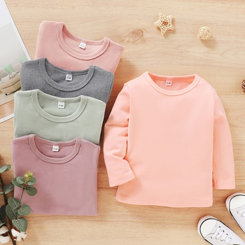 Toddler Girl Causal Solid Long-sleeve Tee