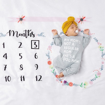 12 Monthly Garland Print Cute Baby Milestone Photography Newborn Soft Baby Photography Props Background Blanket photo