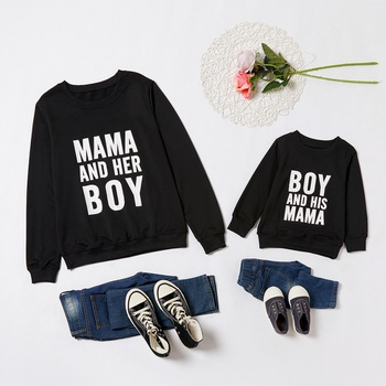 Letter Print Sweatshirts for Mom and Me