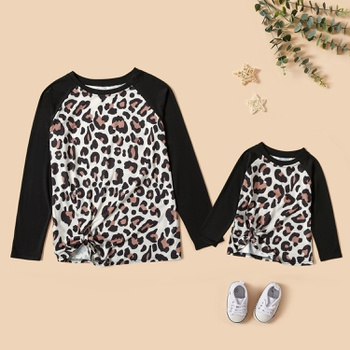 Leopard Print Long Sleeve T-shirts for Mom and Me