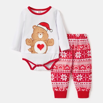 Care Bears Baby Santa's Hat 2-piece Cotton Jumpsuit and Pants Set