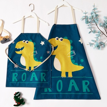 Cute Roar Dinosaur Print Linen Aprons for Mommy and Me