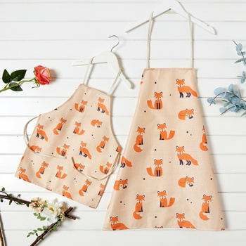 Cute Fox Printed Aprons for Family