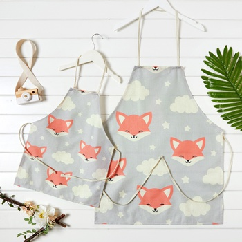 Clouds and  Fox Pattern Print Aprons for Family