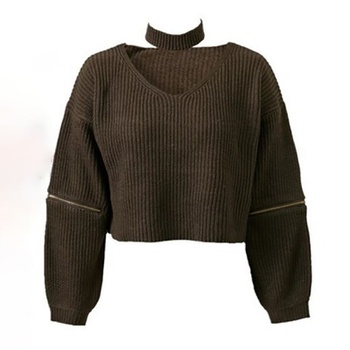 Round collar Plain long sleeve Avant-garde Pullovers1