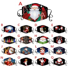 Christmas Cotton Printing Reuseable Face Mask Washable Anti Dust Mask Cloth(Not Include Filters)