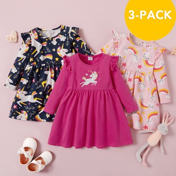 3-pack Toddler Girl Unicorn and Solid Long-sleeve Dress Set