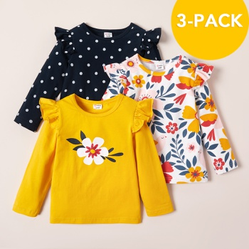 3-pack Toddler Girl Floral Dots Long-sleeve Tee Set