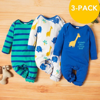 3-pack Baby Giraffe Jumpsuits Set