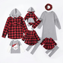 Mosaic Merry Christmas Series Plaid Cotton Family Matching Sets(Grey Solid Dresses - Hoodies Button Shirts - Rompers)