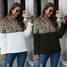 Stand collar Leopard Flock Printing long sleeve normal Pullover