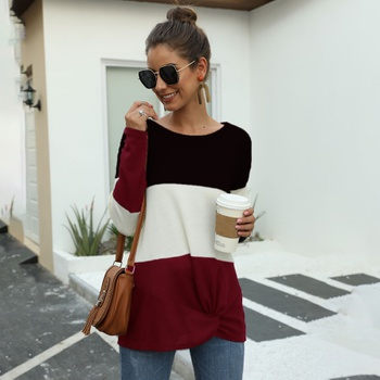 Round collar Color Block Burgundy Color block long sleeve casual T-shirt
