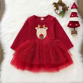 Baby Girl Animal Sweet Dress Cotton Long-sleeve Princess Dresses