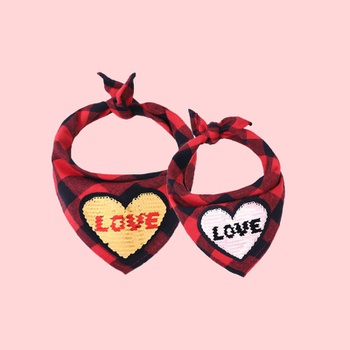 Valentine's Day Red  Plaid Bib for Pets