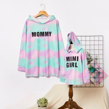 Tie-dye Letter Print Sweatshirts for Mom and Me