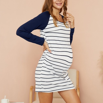 Maternity Round collar Stripes Plain Navy Short H Long-sleeve Dress