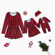 Plaid Long-sleeve Rompers for Mommy-girl-baby