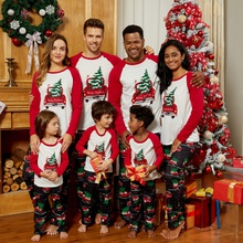 Family Matching Red Car Carrying Christmas Tree Pajamas Sets (Flame resistant)