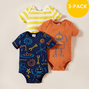 3-pack Baby Robot Striped Rompers Set