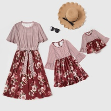 Mommy and Me Striped Stitching Floral Print Dresses