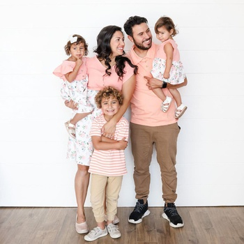Mosaic Family Matching Cotton Stripe T-shirts Flutter-sleeve Floral Dresses - Rompers - Polo Shirts