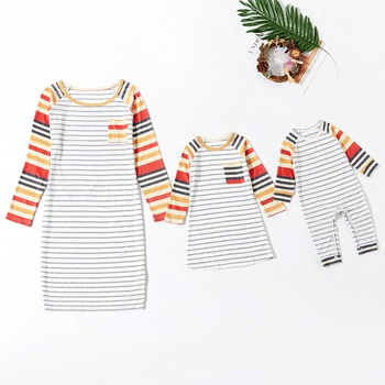 Long-sleeve Striped Stitching Dresses for Mommy-girl-baby