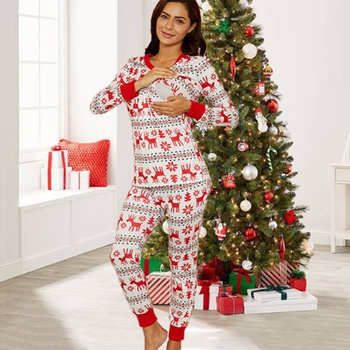 Maternity Christmas tree full print Multi-color Pants suit
