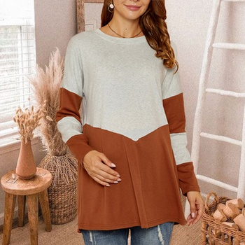 Maternity Round collar Color Block Color block Color block T-shirt