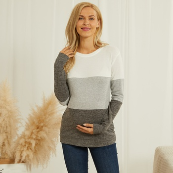 Round neck turtleneck matching color casual pregnant T-shirt
