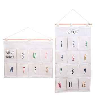 Digital And Letter Multi-pocket Hanging Bag Wall Mounted Wardrobe Organizer Sundries Cosmetics Storage Pouch Home Office Container