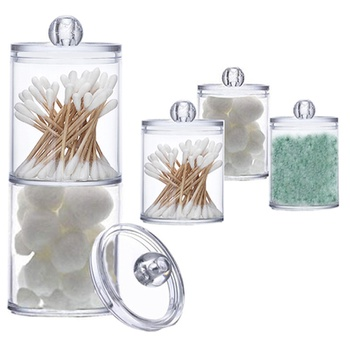Creative Makeup Round Cotton Swabs Storage Box Bathroom Cotton Swab Organizer Transparent Toothpick Storage Case