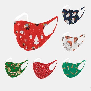 Christmas Printing Reuseable Face Mask Washable Anti Dust Mask Cloth(Not Include Filters)