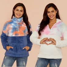 Maternity Polo collar Tie dye full print Hoodie