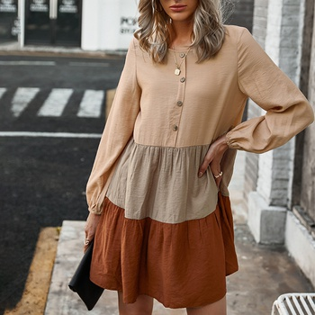 Round collar Color Block Normal shoulder Tunic short dress