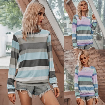 Round collar Stripes full print long sleeve casual T-shirt