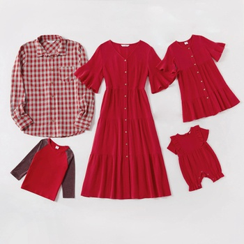 Mosaic Family Matching 100% Cotton Red Sets(Puff-Sleeve Dresses - Plaid Button Front Shirts - Rompers - Long sleeve T-shirts)