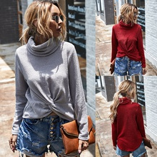 High collar Plain long sleeve casual Pullovers
