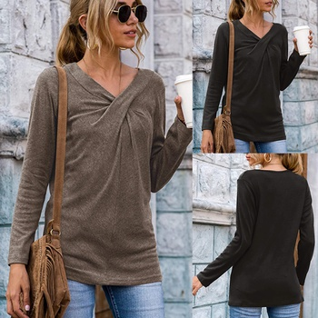 V-neck Plain long sleeve casual T-shirt