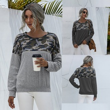 Round collar Camouflage full print long sleeve normal Pullover