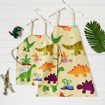 Cute Cartoon Dinosaur Print Aprons for Family
