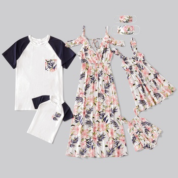 Mosaic Floral Print Family Matching White Sets