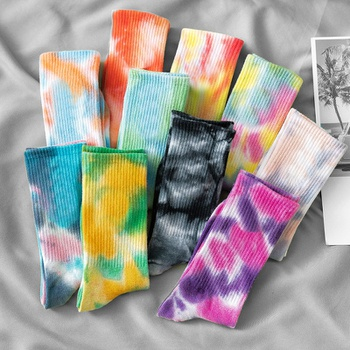 Cotton Street Skateboard Thick Thread Couple Tie Dye Pile Socks Tide Socks
