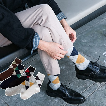 Men's Socks Autumn And Winter Plaid Leisure Pure Cotton  Comfortable And Breathable Socks